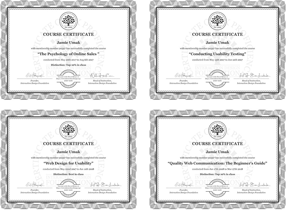 Interaction Design Foundation review with course certificates earned so far.