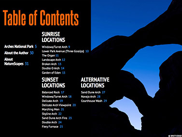Arches National Park eBook - Table of Contents
