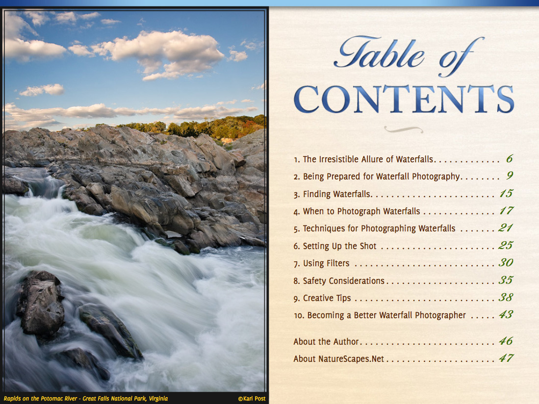 Waterfalls eBook - Table of Contents